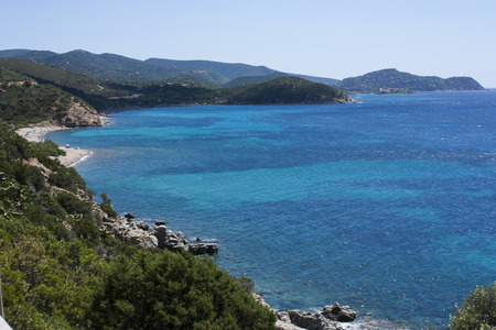 regina: View on the sea in Cala Regina. Location closed to Cagliari, Sardinia, Italy.
