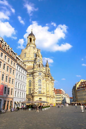 View on the famous Cathedral the Dresden Frauenkirche - Dresden, Germany - 11.09.2016.