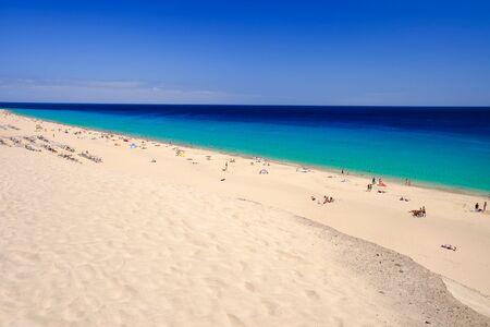 playa: View on the beach Playa de Morro Jable and Atlantic ocean on the Canary island Fuerteventura, Spain.