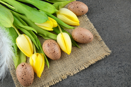 glower: Yellow tulips and Easter quail eggs and quill on sackcloth and dark background. Stock Photo