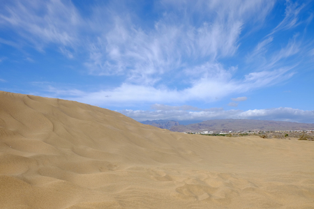 View on dunes of Maspalomas and natural reserve La Charca on the Canary Iceland Gran Canaria, Spain. Stock Photo
