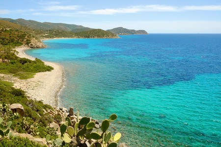 View on the beach Is Canaleddus on the South of Sardinia, Italy.