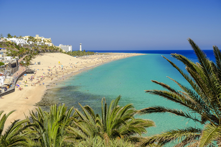 View on the beach Playa del Matorral in Morro Jable on the Canary Island Fuerteventura, Spain.