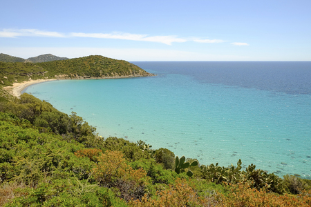 Aerial view on the beach Is Canaleddus on the South of Sardinia, Italy.