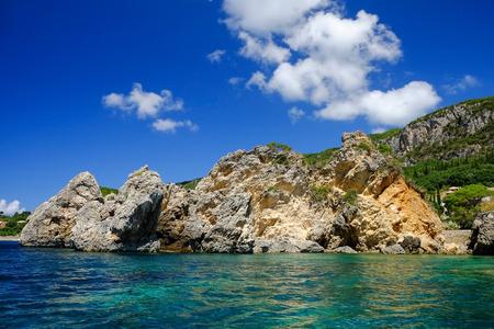 paleokastritsa: View on the rocks on the beach Paleokastritsa on the island Corfu, Greece. Stock Photo