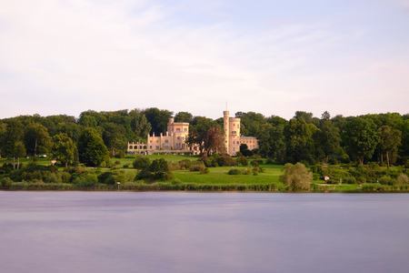 View on the Castle Babelsberg and river Havel in Potsdam, Germany.