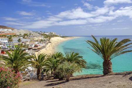 Playa del Matorral w Morro Jable na Wyspach Kanaryjskich Fuerteventura, Hiszpania. Zdjęcie Seryjne