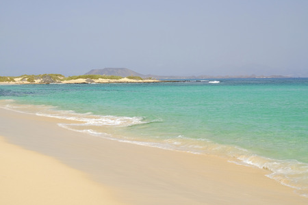 View on the beach Corralejo on the Canary Island Fuerteventura, Spain.