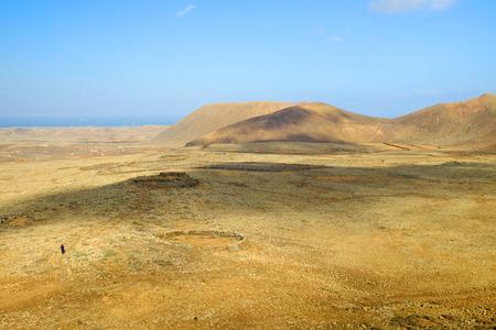 Volcans on the Canary Island Fuerteventura, Spain.View from Vulcan Calderon Hondo.