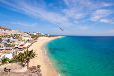 Aerial view on beach Morro Jable - Playa del Marotorral - in Jandia on the Canary Island Fuerteventura, Spain.