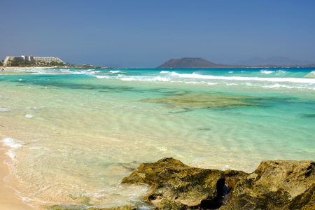 Beach Corralejo on the Canary Island Fuerteventura, Spain.