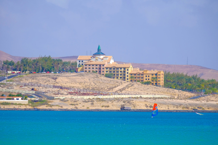 View on the beach Costa Calma with resorts on the Canary Island Fuerteventura, Spain.