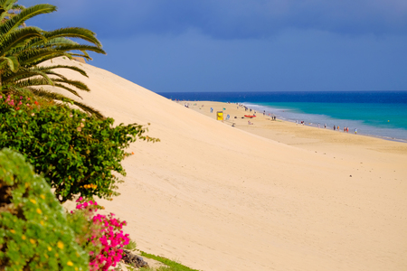View on the beach Playa del Matorral in Morro Jable on Fuerteventura, Canary Islands, Spain.