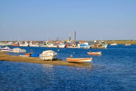SANTA LUZIA, TAVIRA, ALGARVE, PORTUGAL - MAI 25, 2019: View on the port of Santa Luzia on the sunset.