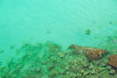 Aerial view on transparent green sea water. Can be used as a background. Location Menorca.