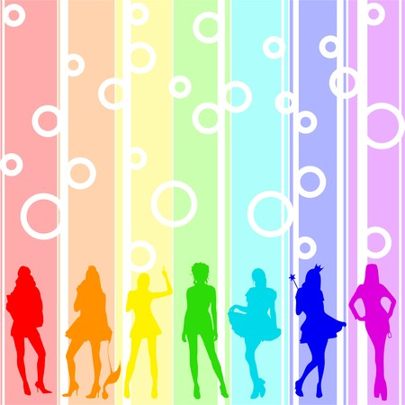 illustration of silhouettes girl on rainbow background. each girl symbolizes color illustration