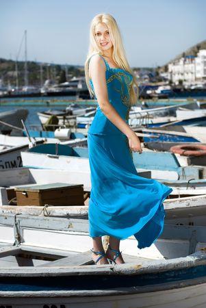 beautiful blonde girl on the boat Reklamní fotografie
