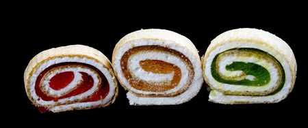 chew over: bright tasty marmalade rolls, red orange and green