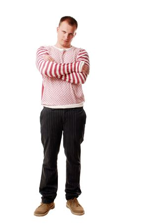 a young man poses. isolated on a white background photo