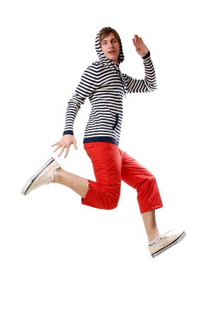 nice guy jumps high because he is happy photo