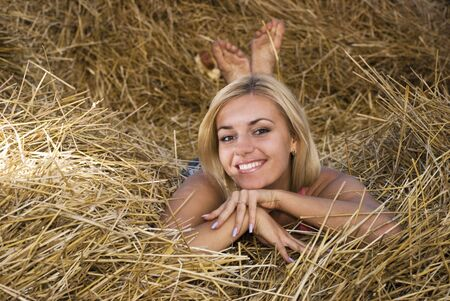 beautiful sexual girl in the manger photo
