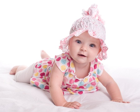 kids dress: Portrait of a baby girl  on a white background