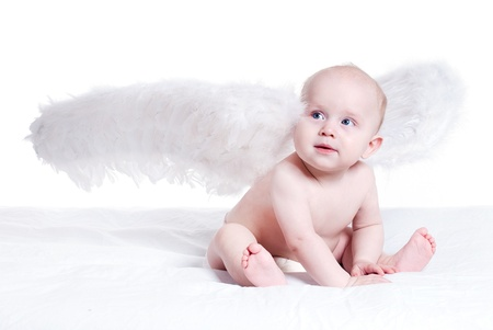portrait of baby angel sitting on a white photo