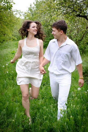 full length portrate of Young couple in love photo