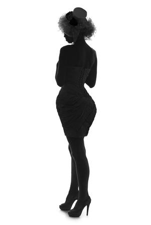 stylish silhouette caucasian beautiful woman photo
