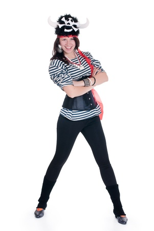 Full-length portrait of Attractive girl in a pirate costume and hat