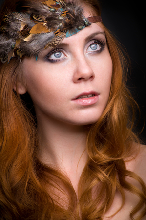 elegance fashion girls look sensuality young: Closeup portrait of a redhead female model Stock Photo