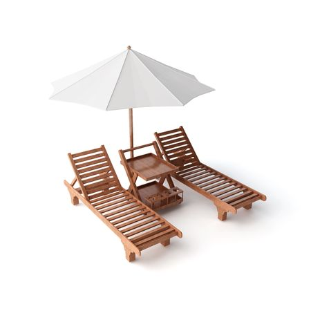 laze: isolated two chairs and umbrella Stock Photo