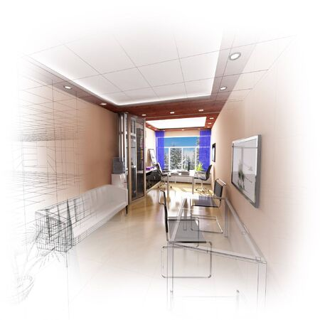 3d wireframe modern office design. Isolate. Fade to white