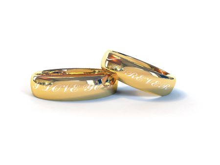 wedding rings with  text