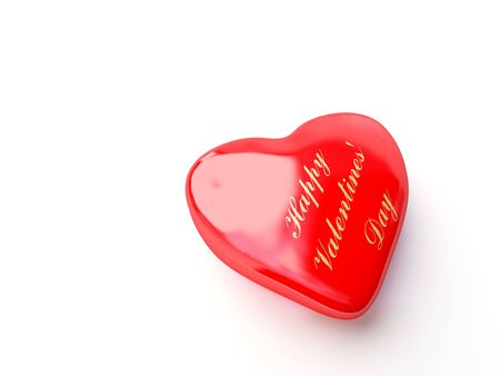 Heart with golden inscription happy valentines Stock Photo