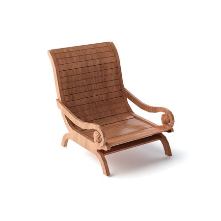 a wooden lounger isolated Stock Photo