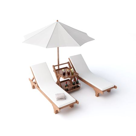 isolated two chairs and umbrella Stock Photo