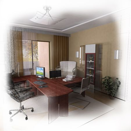 3d wireframe modern home office design. Isolate. Fade to white photo