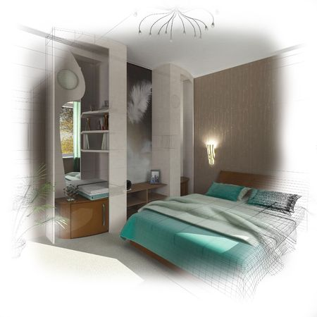 3d wireframe modern bedroom design. Isolate. Fade to white Stock Photo - 2902653