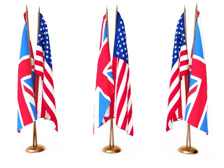 flags of Great Britain and the United State isolated white