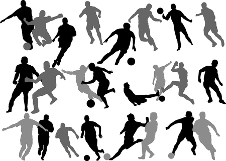 football referee: Vector Soccer Players Silhouettes