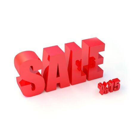 red SALE sign and symbols of percent -15 photo