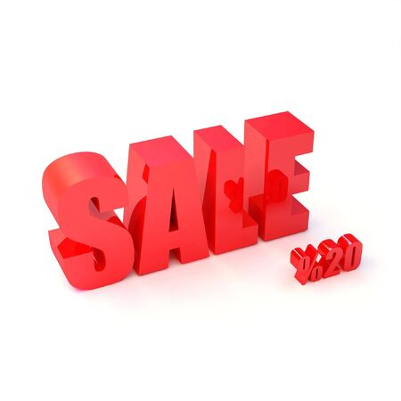 red SALE sign and symbols of percent -20