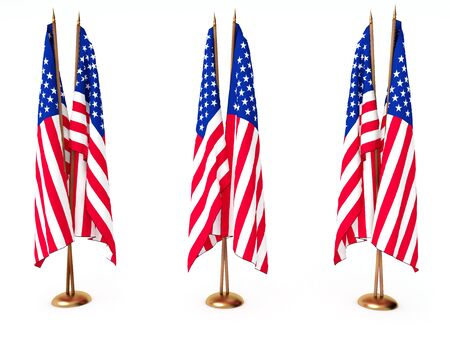 flags of the United State isolated white Stock Photo