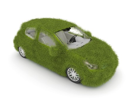 3d Hybrid auto with green grass. Ecological friendly auto decorated with green grass. Stock Photo