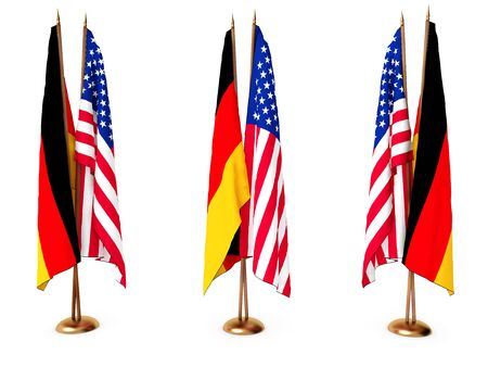 flags of Germany and the United State isolated white