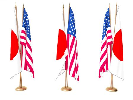 flags of Japan and the United State isolated white