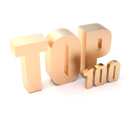isolated 3d golden text TOP 100