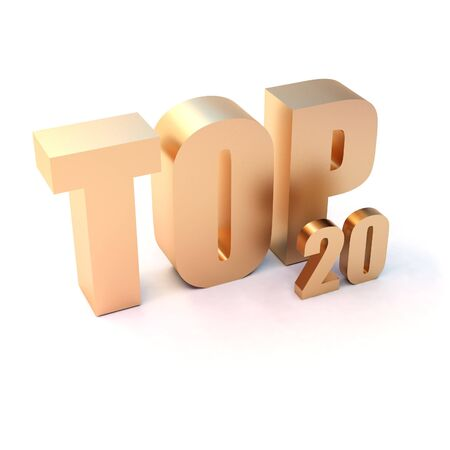 isolated 3d golden text TOP 20