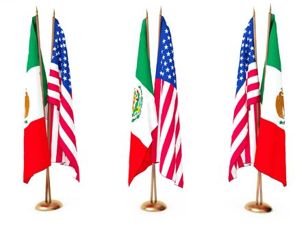flags of Mexican and the United State isolated white